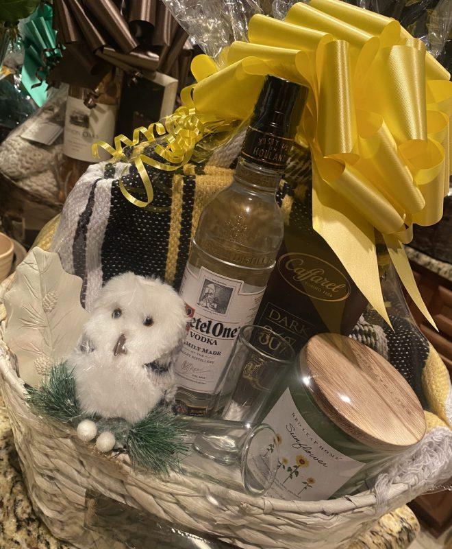 Decorative Gift Basket w/ a Large Yellow, Black & White Flautas Throw; Ketel One Vodka; Dual Shot classes; Sunflower Candle